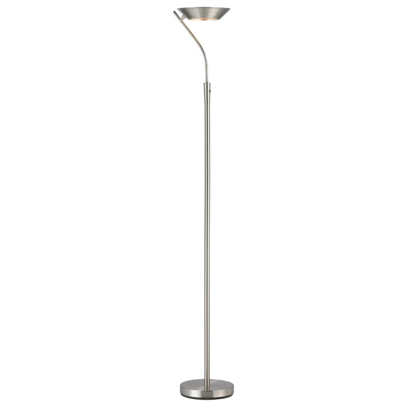 Adesso Saturn LED Torchiere, Brushed Steel