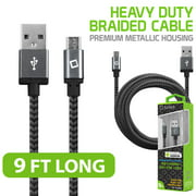 Cellet Premium Micro USB Charging/Data Sync Cable, Extra Long 9ft. (2.7m) Heavy Duty Nylon Braided Micro USB Cable with Slim Connector