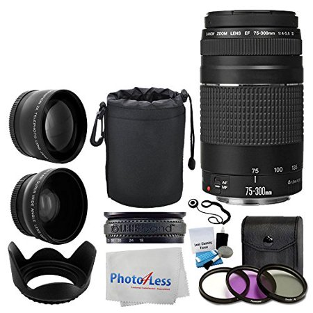 Canon EF 75-300mm f/4-5.6 III Lens + Wide Angle Lens & 2x Telephoto Lens + 3 Piece Filter Kit + Lens Pouch + Tulip Lens Hood + Lens Band + Cleaning Kit + 5 Piece Cleaning Cloth + Lens Accessory