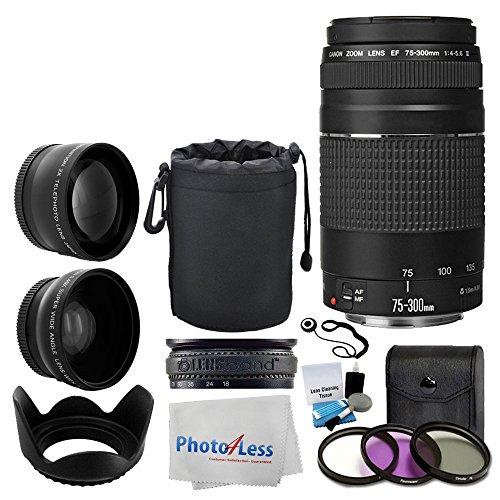 Canon EF 75-300mm f/4-5.6 III Lens + Wide Angle Lens & 2x Telephoto Lens + 3 Piece Filter Kit + Lens Pouch + Tulip Lens Hood + Lens Band + Cleaning Kit + 5 Piece Cleaning Cloth + Lens Accessory Bundle