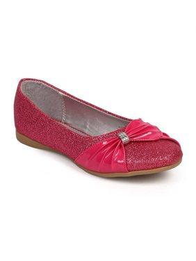 f41817733 Product Image Little Angel DF71 Glitter Round Toe Rhinestone Bow Mary Jane  Flat (Toddler / Little Girl