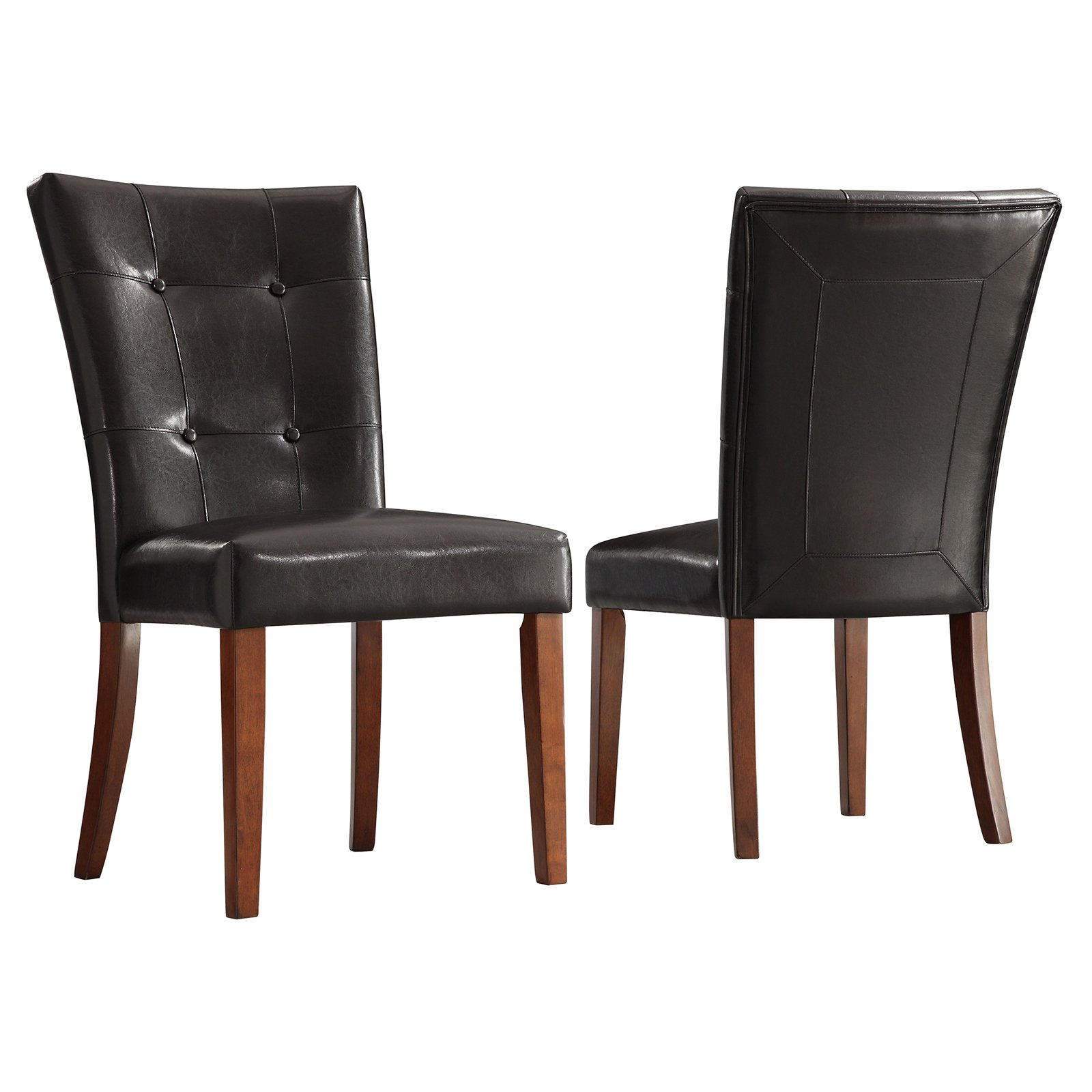Parson Tufted Vinyl Chairs - Set of 2