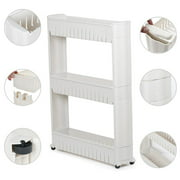 3 Tier Mobile Shelving Unit Slim Slide-Out Storage Tower Pull out Pantry Shelves Cart for Kitchen Bathroom Bedroom Laundry Room Narrow Places on Wheels White