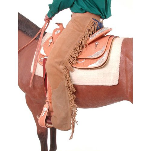 Tough-1 Western Chaps Adult Suede Equitation Fringe Double Stitched 63-310