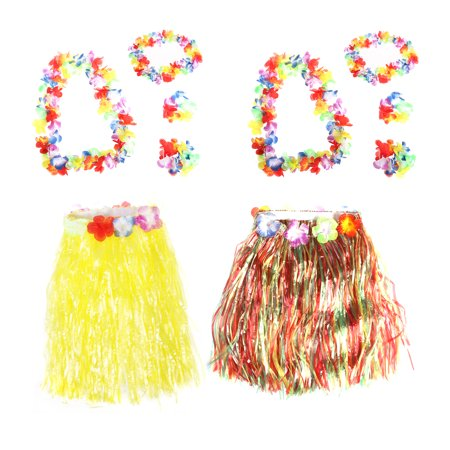2 Set 40cm Hawaii Tropical Hula Grass Dance Skirt & Flower Bracelets & Headband & Necklace Set (Colorful & Yellow)
