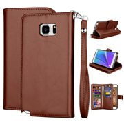 Galaxy Note 5 Case, Note 5 Wallet Case, Note 5 PU Leather Case, Njjex Luxury PU Leather Wallet Flip Protective Case Cover with Card Slots and Stand with Wrist Strap For Samsung Galaxy Note 5