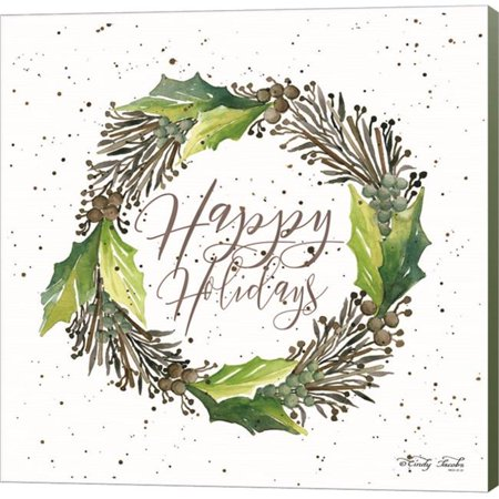 Metaverse C958827-0120000-YCEAAMA Happy Holidays Wreath by Cindy Jacobs Canvas Wall Art - 12 x 12 in. - image 1 of 1