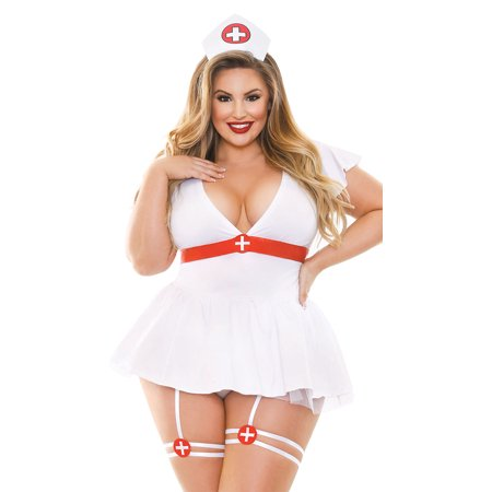 Cheap Naughty Costumes (Plus Size Bedside Naughty Nurse Lingerie)