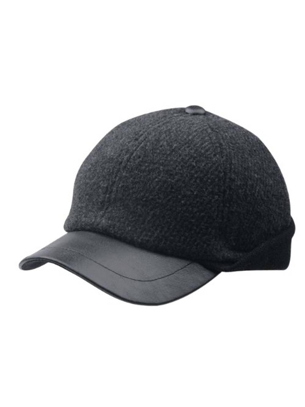 Wool Earflap Baseball Cap - Charcoal 3906c28949f