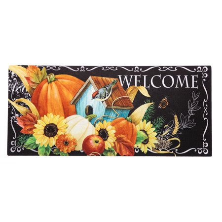 Evergreen Harvest Greetings Decorative Mat Insert, 10 x 22 inches