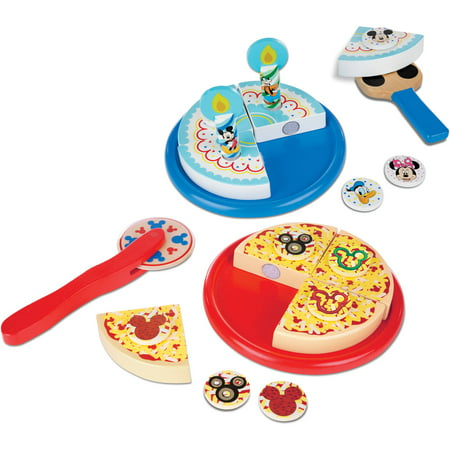 Melissa & Doug Mickey Mouse Wooden Pizza and Birthday Cake Set (32 pcs) - Play Food