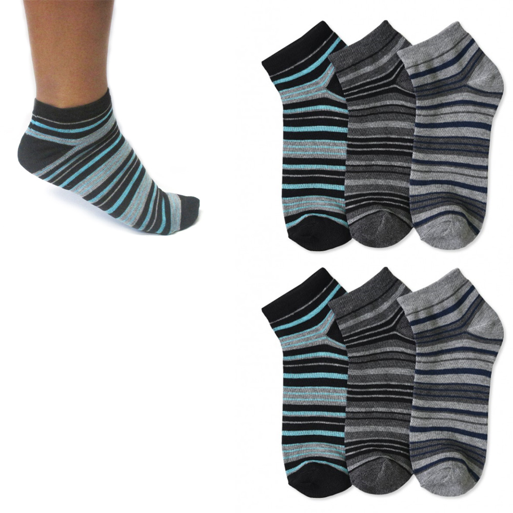 6 Pairs Ankle Quarter Crew Socks Men Casual Low Cut 10-13 Sport Black Grey Color