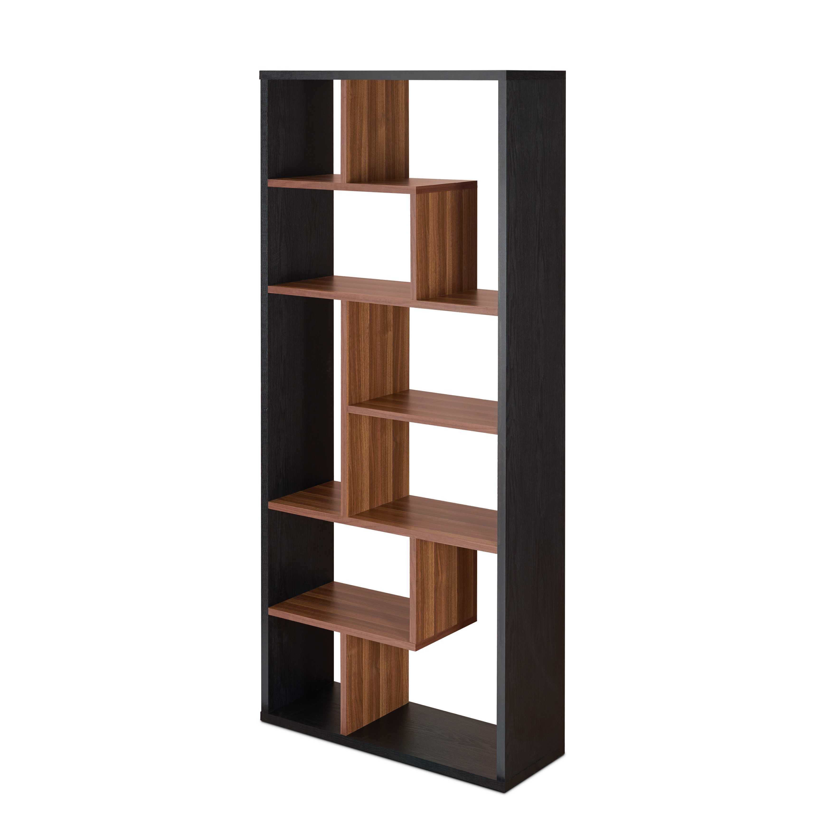 Cube Bookcase in Black and Walnut - Veneer, Particle Board Black and Walnut