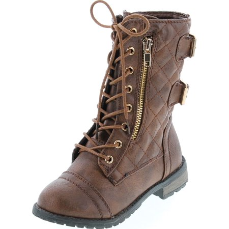 Link Mango79K Tan Childrens Girls Mid Calf Quilted Back Buckle Lace Up Combat