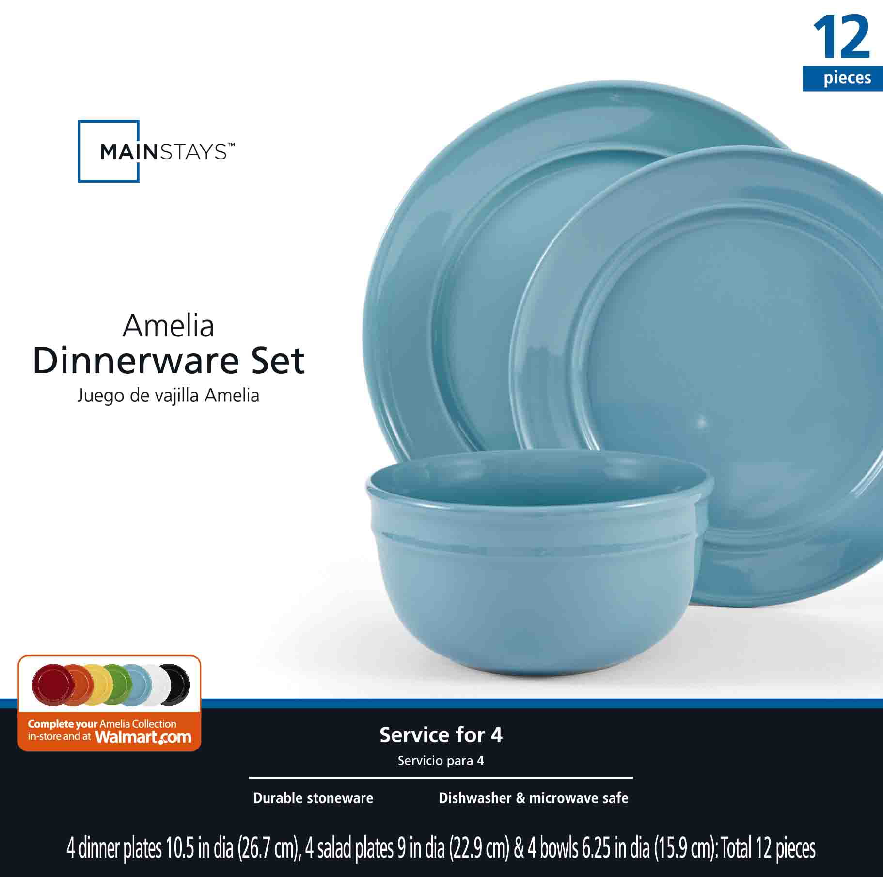 sc 1 st  Walmart & Mainstays Amelia 12-Piece Solid Color Dinnerware Set - Walmart.com