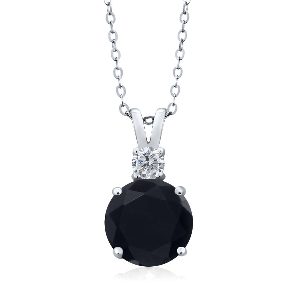 3.10 Ct Round Black Onyx G/H Diamond 14K White Gold Pendant