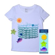 Udoo Planet Little Kids Unisex White Ocean Buttons Playful T-Shirt 3T-6X