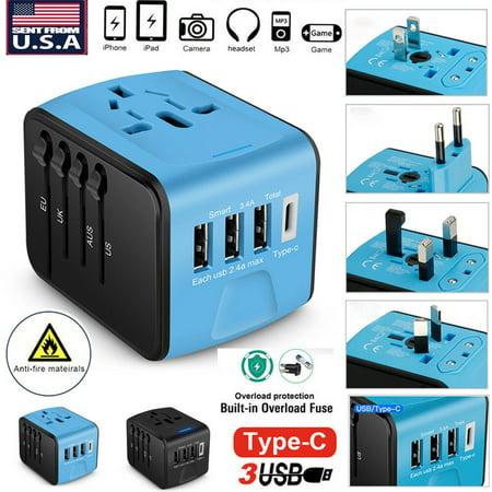 Type-C 3 USB Charger Universal World Travel Adapter US/UK/EU/AU Plug Converter 5A (1,2