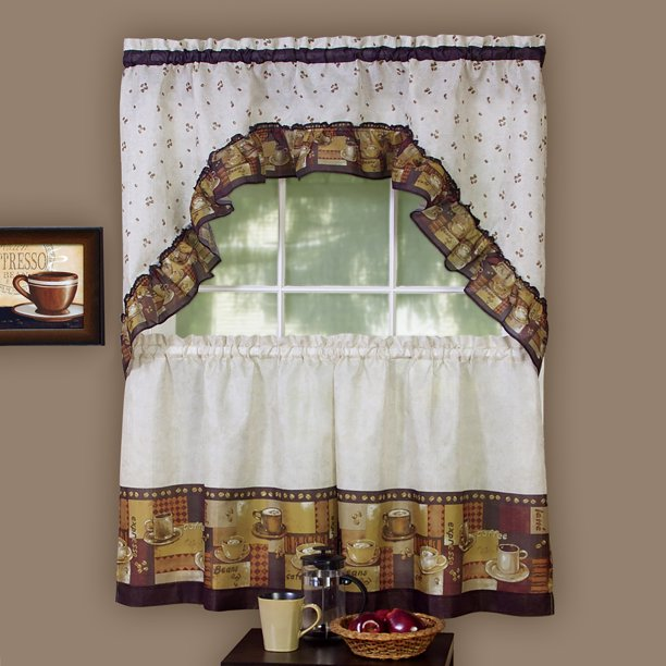 Woven Trends 3 Piece Kitchen Curtain, Swag Curtains For Living Room