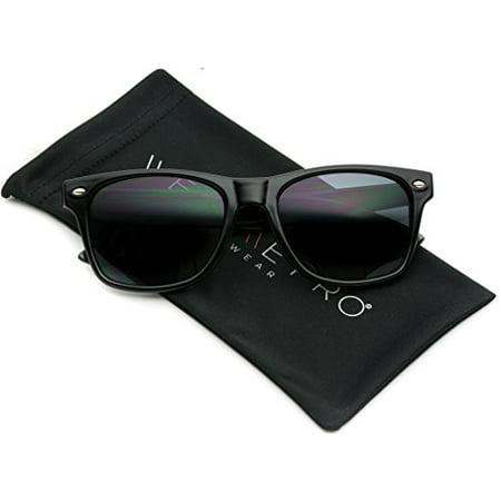 Classic Full Black Frame Square Retro Sunglasses for Men ()