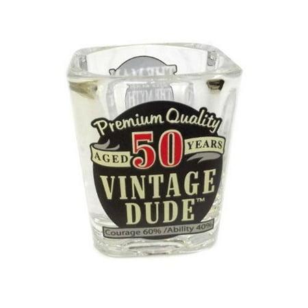 Backed Glass - Laid Back Vintage Dude 50th Milestone Shot Glass