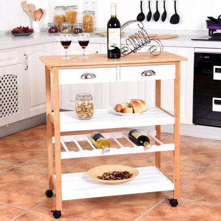Bamboo Rolling Kitchen Storage Utility Cart W Drawers