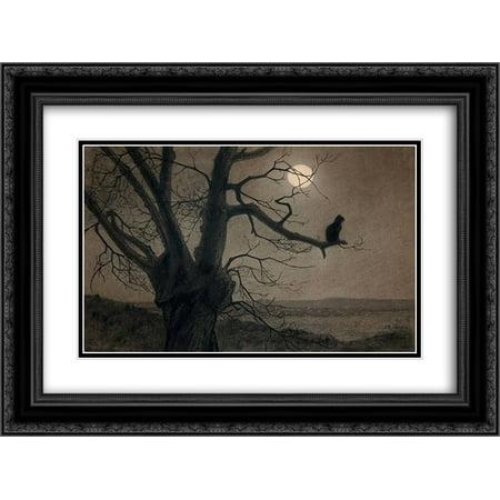 FrameToWall - Theophile Steinlen 2x Matted 24x20 Black Ornate Framed Art Print 'Cat in the (Ornate Cap)
