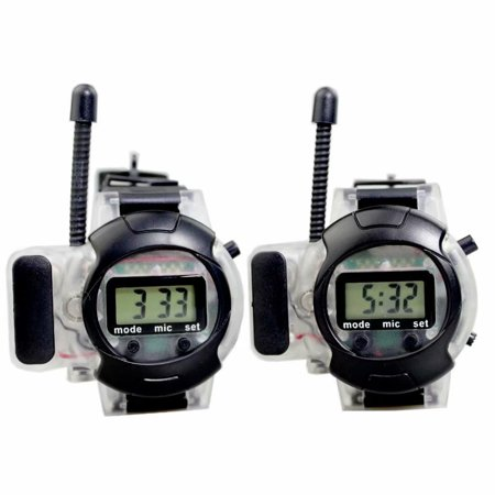 Walkie Talkie Dora - Walkie Talkie 150m Long Range Multi-Connection Talk and Hear by Earphone (Included) for Clear Sound,Radio Watch for Boys and Girls Scouts, Outdoor Toys for Kids Children, Black (2 Packs)