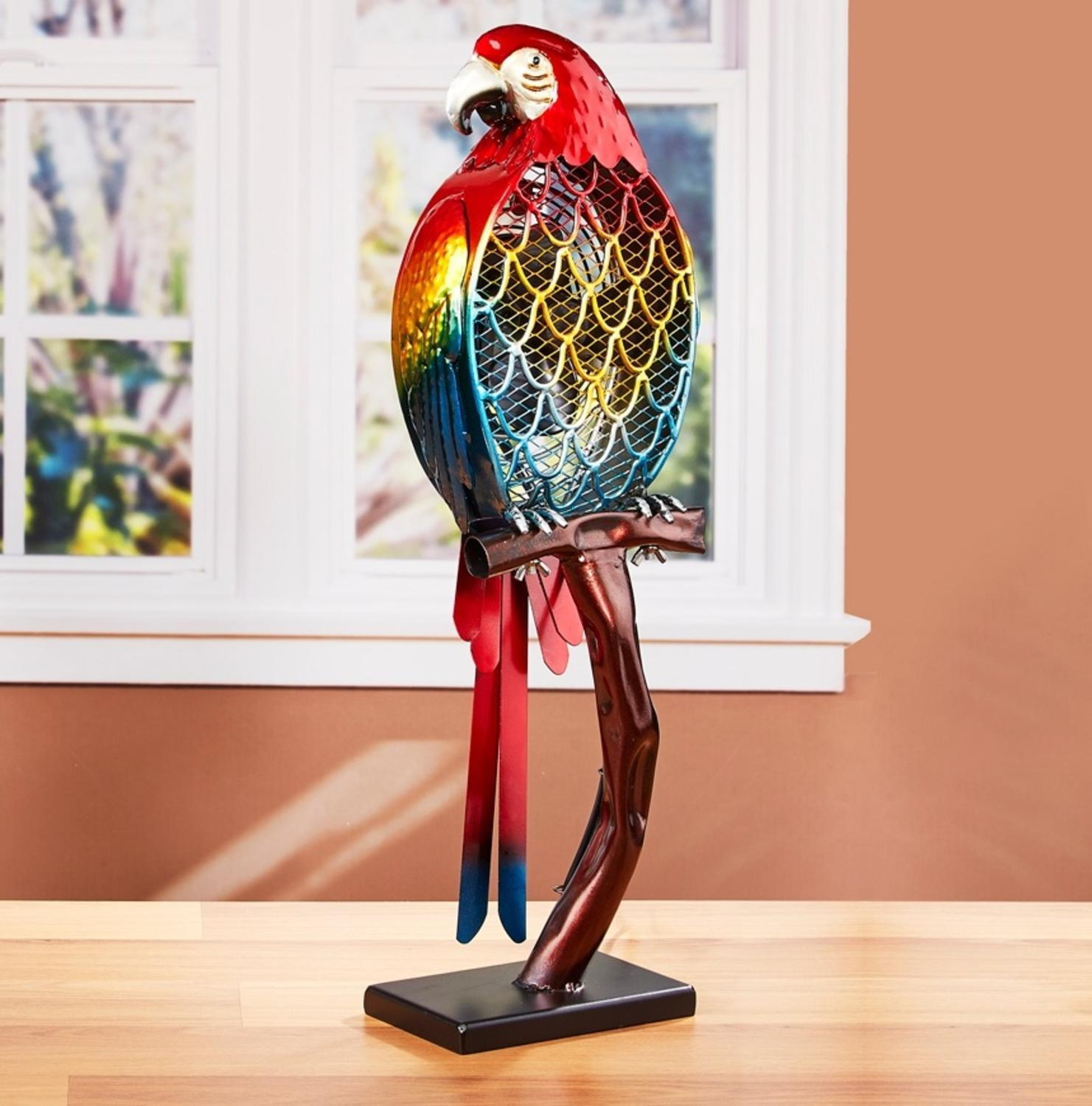 "22"" Hand Sculpted Red and Blue Parrott Table Top Figure Fan"