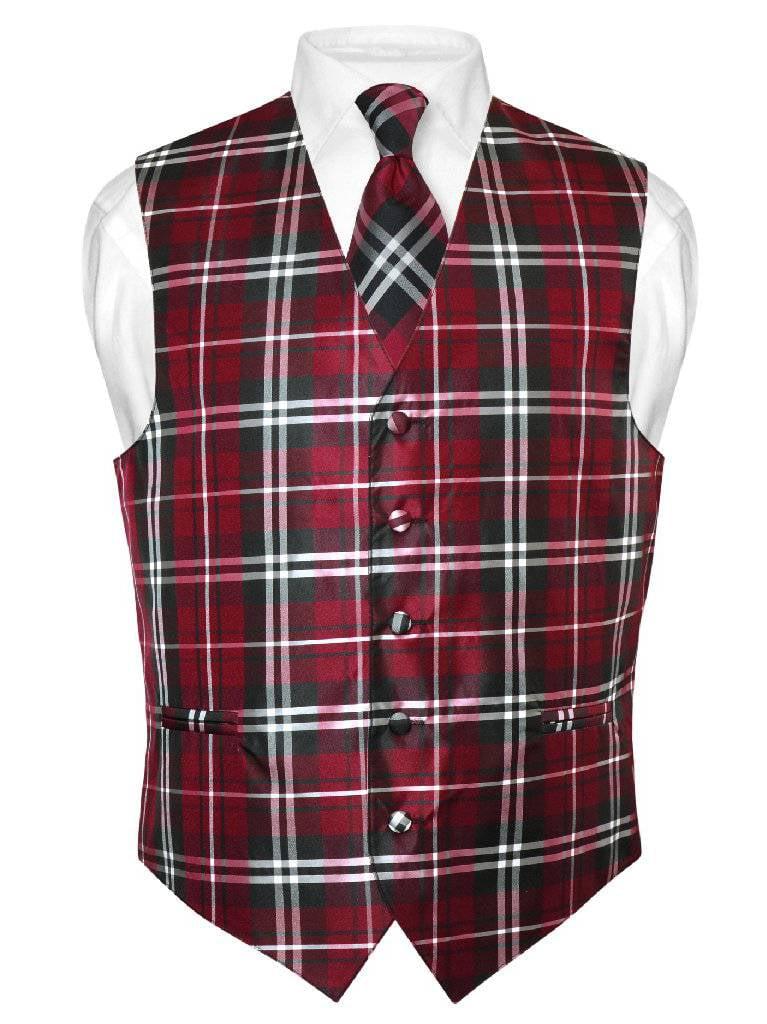 Men's Plaid Design Dress Vest & NeckTie Black Burgundy White Neck Tie Set