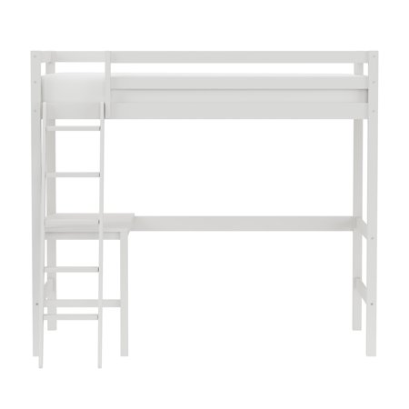 Hillsdale Kids and Teen Caspian Twin Loft Bed with Built-in Study Desk, White