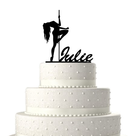 Personalized Pole Dancer Customized Birthday Cake Topper Solid Black Monogram Calligraphy Made From Food Grade Acrylic Designed And Manufactured In California Usa Free Shipping