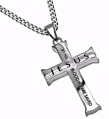 "Necklace-Iron Cross-By His Blood (24"")"