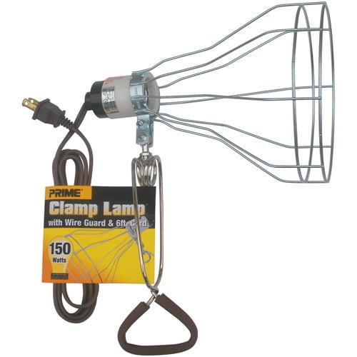 Prime Wire 6-Foot 18/2 SPT-2 150 Watt Porcelain Socket With Metal Guard, Clamp Lamp