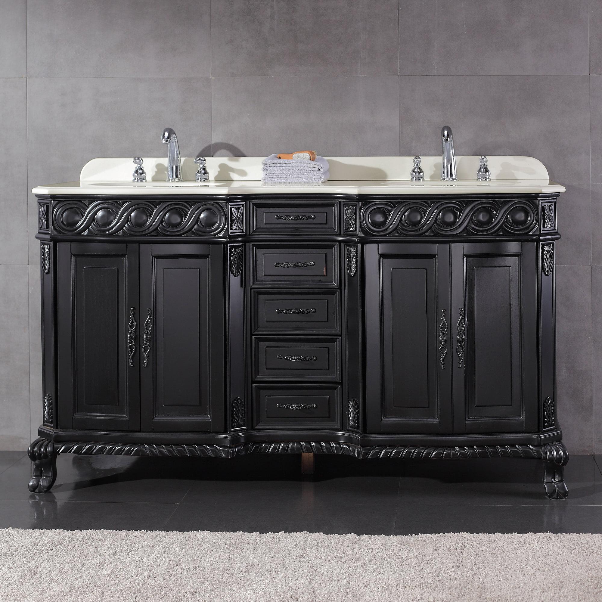 Ove Decors Trent 60 In Antique Black Double Sink Bathroom Vanity With White Cultured Marble Top Walmart Com Walmart Com