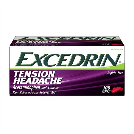 Excedrin Tension Headache Aspirin Free Caplets For Head  Neck  And Shoulder Pain Relief  100 Count