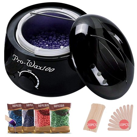 【Gifts for Her】Wax Warmer Hair Removal Waxing Kit Wax Melts Warmers Heater Pot + 4 Flavors Hard Wax Beans + 30 Wax Applicator Sticks Home Depilatory Beauty Machine for Arm Leg Face