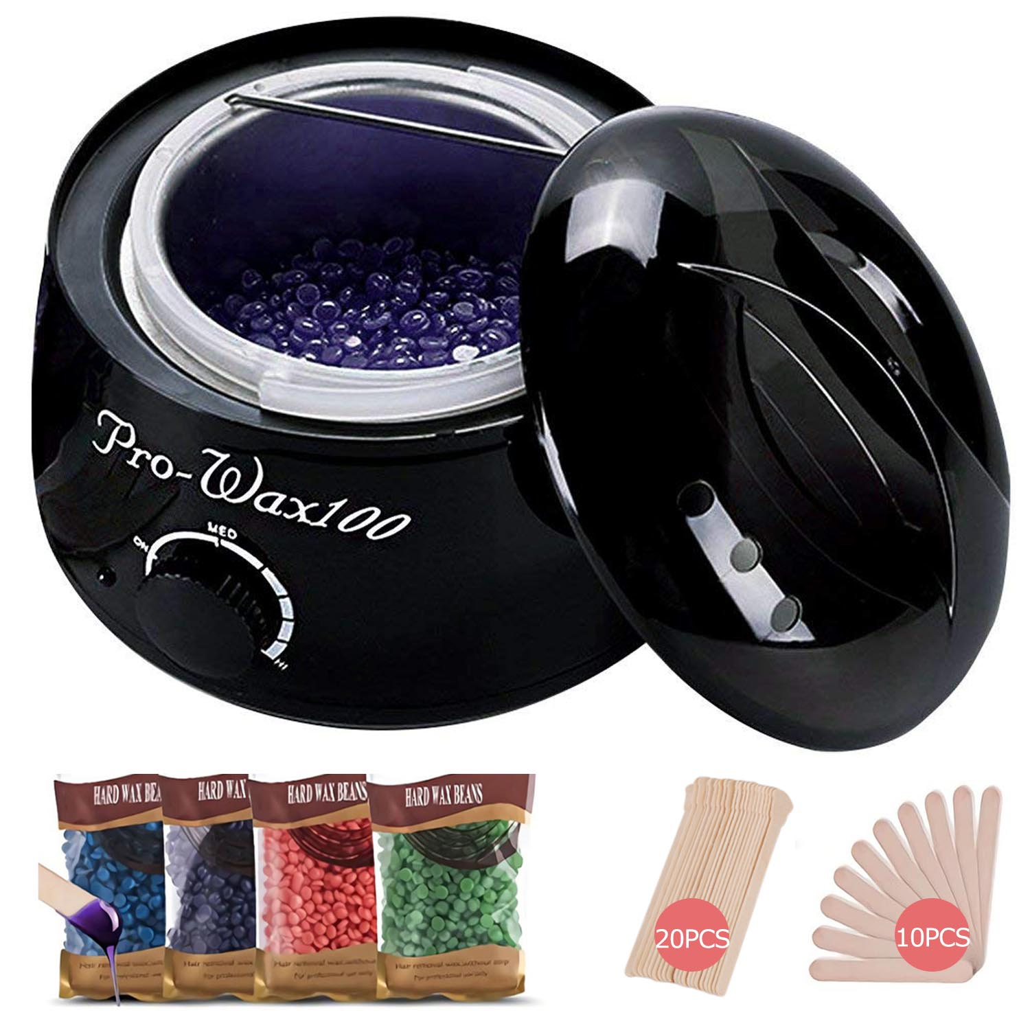 Wax Warmer Hair Removal Waxing Kit Wax Melts Warmers Heater Pot + 4 Flavors Hard Wax Beans + 30 Wax Applicator Sticks Home Depilatory Beauty Machine for Arm Leg Face Bikini