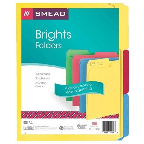 """Smead 11938 Assortment Colored File Folders - Letter - 8.50"""" X 11"""" - 1/3 Tab Cut - Assorted Position Tab Location - 11 Pt. - Assorted - 24 / Pack (SMD11938)"""