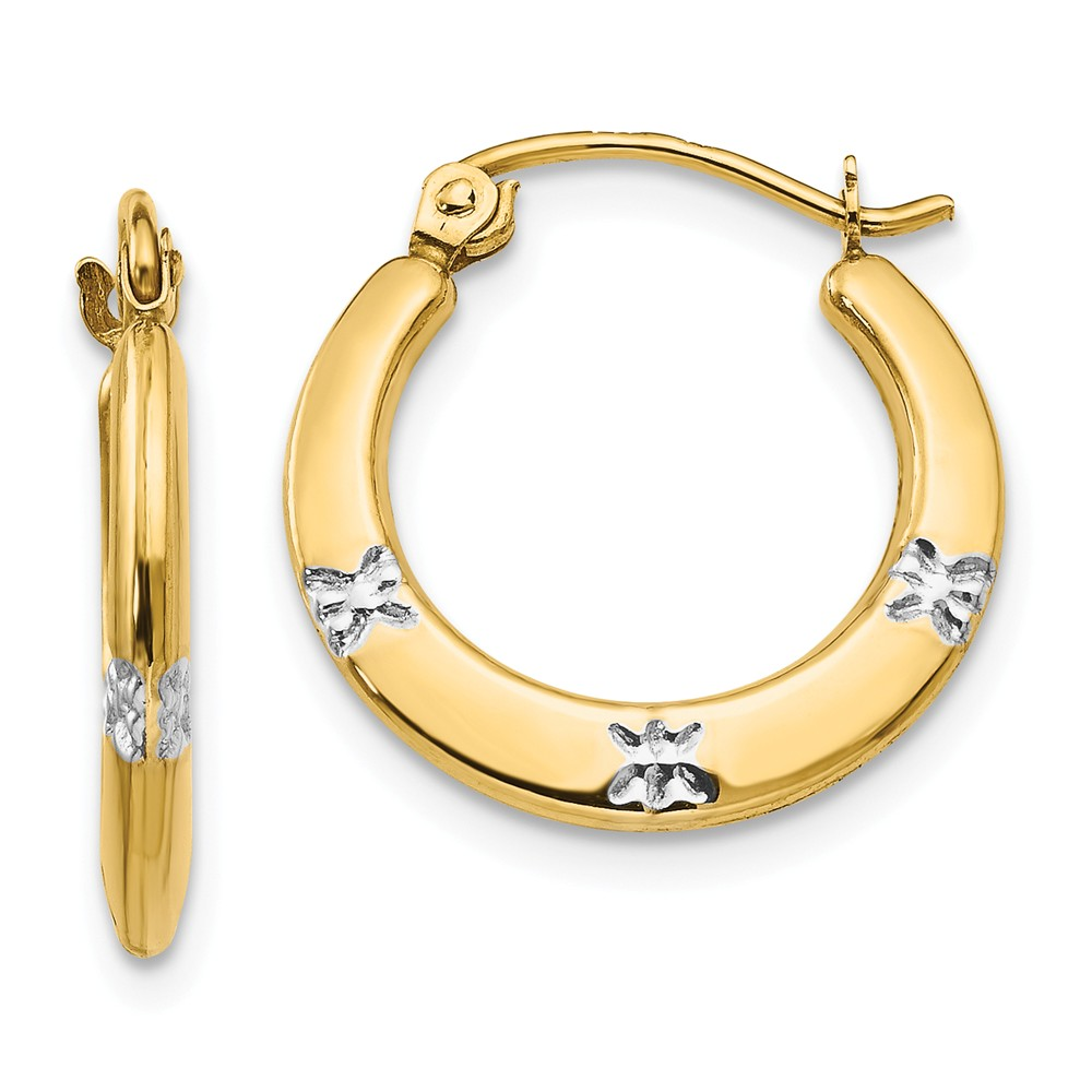 14K Yellow Gold Childs Rhodium Flowers Hollow 0.5IN Hoop Earrings w/ Gift Box (0.7IN x 0.6IN )