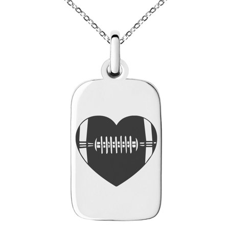 Stainless Steel Love Football Heart Engraved Small Rectangle Dog Tag Charm Pendant Necklace ()