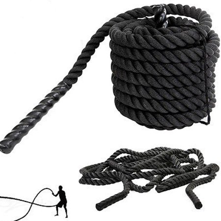 Zimtown 1.5 / 2in Diameter, 30 / 40 / 50ft Length Combat Battle Rope, Undulation Exercise Workout Fitness Crossfit Conditioning Strength Power Training (Rope 1 2 Inch Silk)