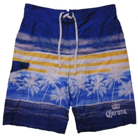 29666b31f4 Corona - Corona Extra Mens Blue Tropical Cargo Board Shorts Swim Trunks -  Walmart.com