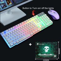 Useful T6 Rainbow Backlight Usb Ergonomic Gaming Keyboard and Mouse Set for PC Laptop