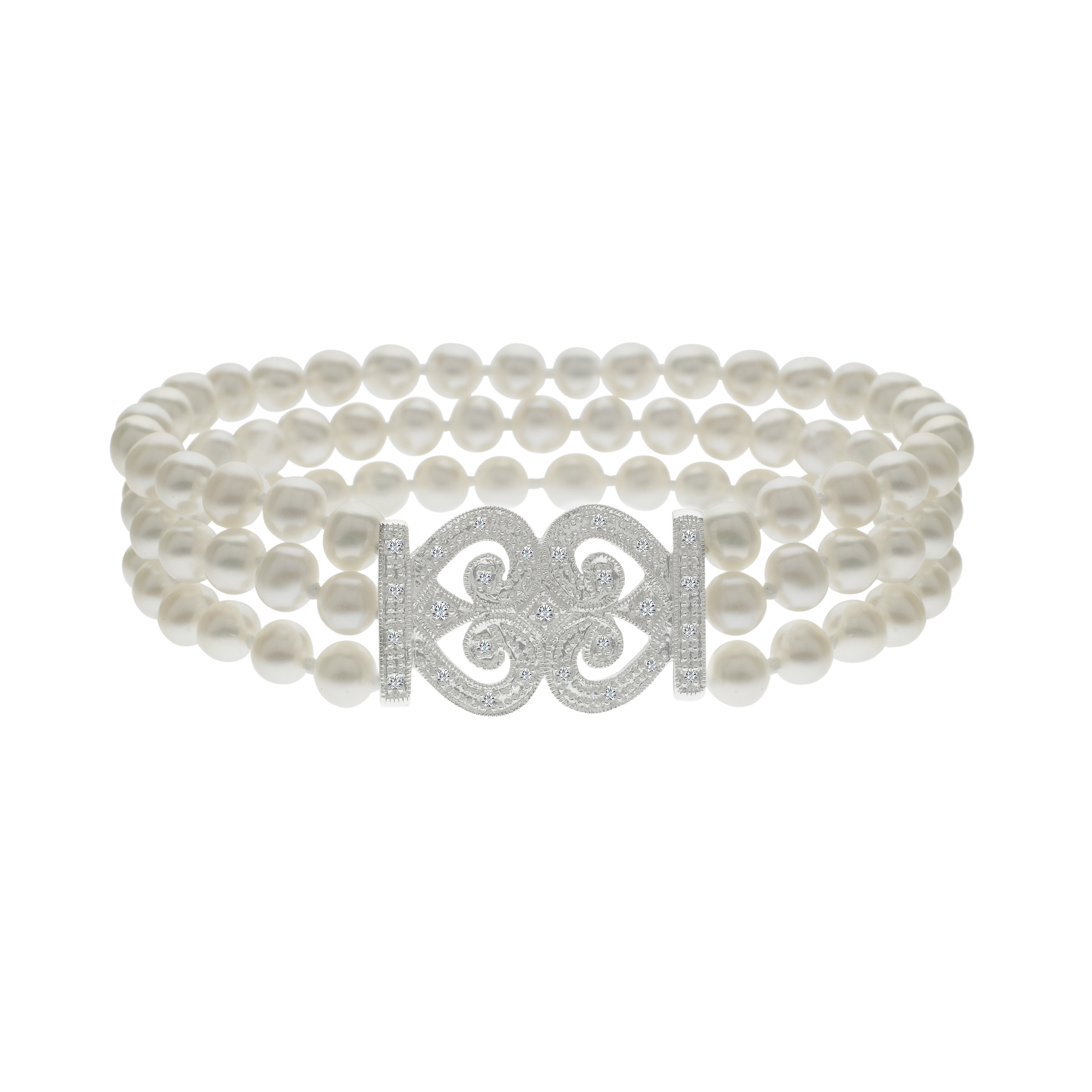 Freshwater Pearl and 1 6 ct Diamond Bead Bracelet in 14kt White Gold by Richline Group