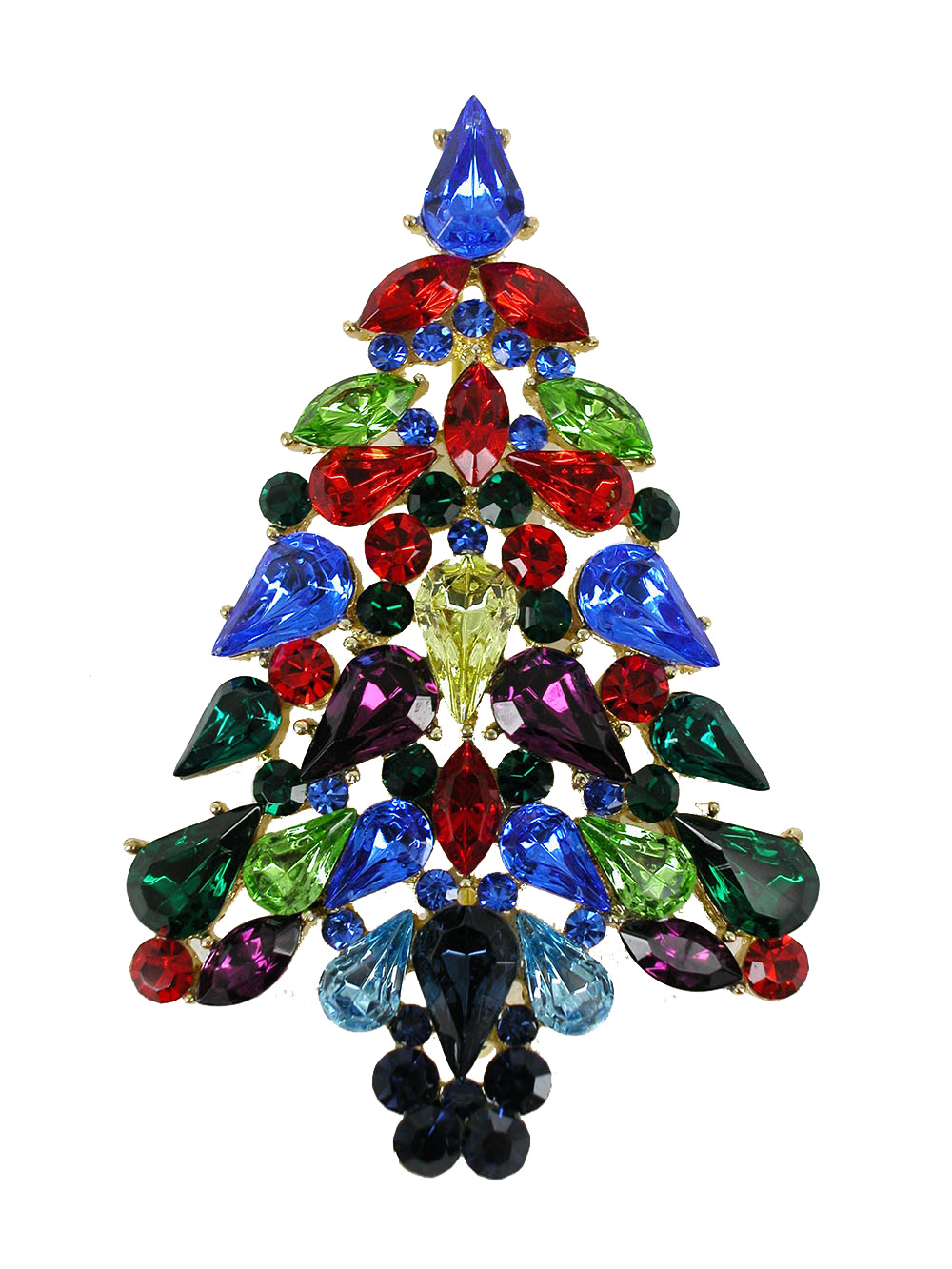 Faship Stunning Gorgeous Multicolors Crystal Gold Plated Christmas Tree Pin Brooch by Faship