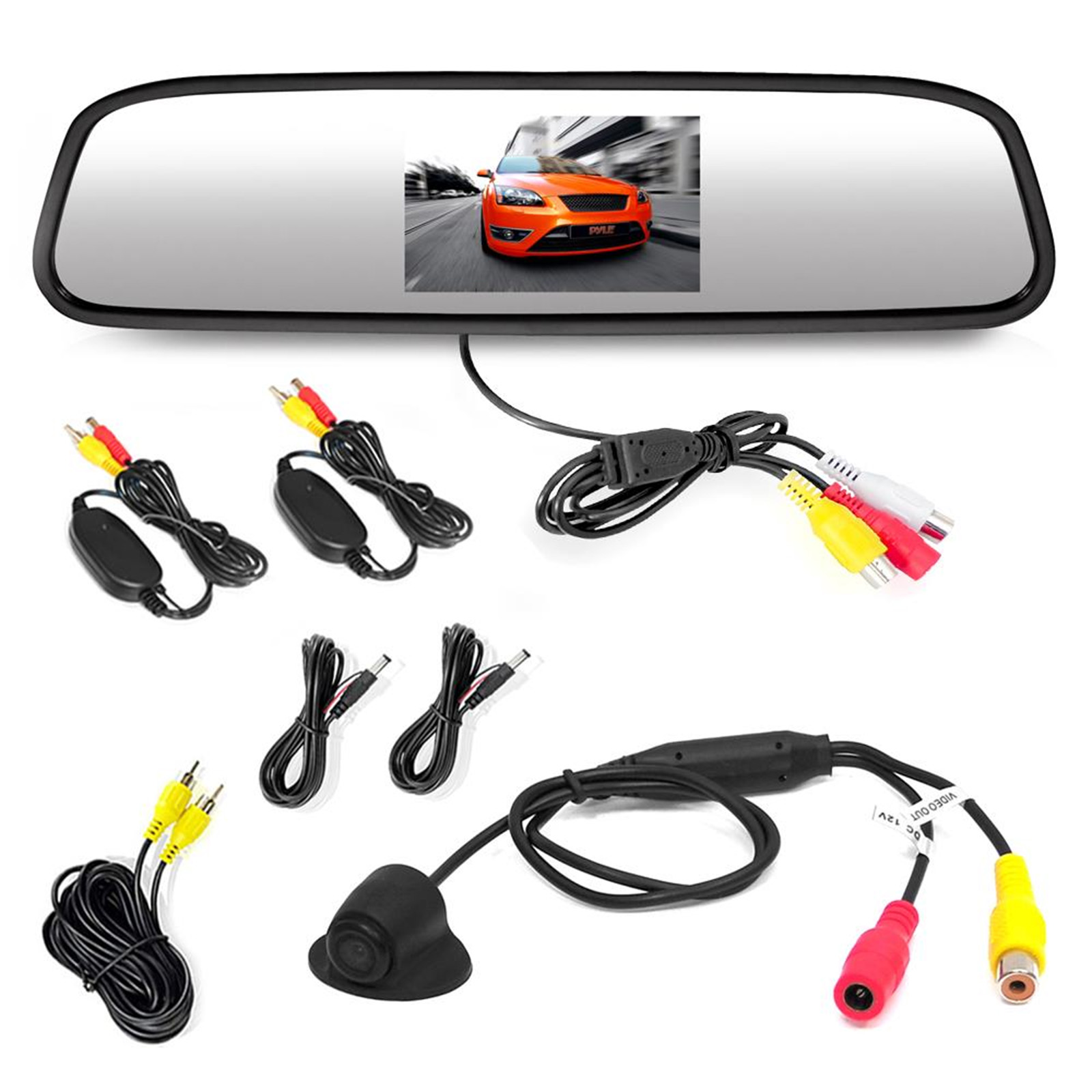 "Pyle cord free Rearview Backup Camera & Mirror Monitor, Waterproof Night Vis Cam, 4.3"" Screen, Distance Scale Lines, Parking/Reverse Assist"