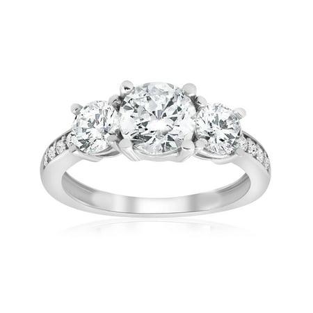 1 3/4ct Three-Stone Round Diamond Engagement 3 Stone Ring 14K White Gold 3 Stone Diamond Engagement Setting