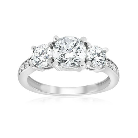 1 1/2ct 3-Stone Diamond Engagement Ring White Gold Round Cut Jewelry Solitaire - Ideal Cut Diamond Solitaire Ring