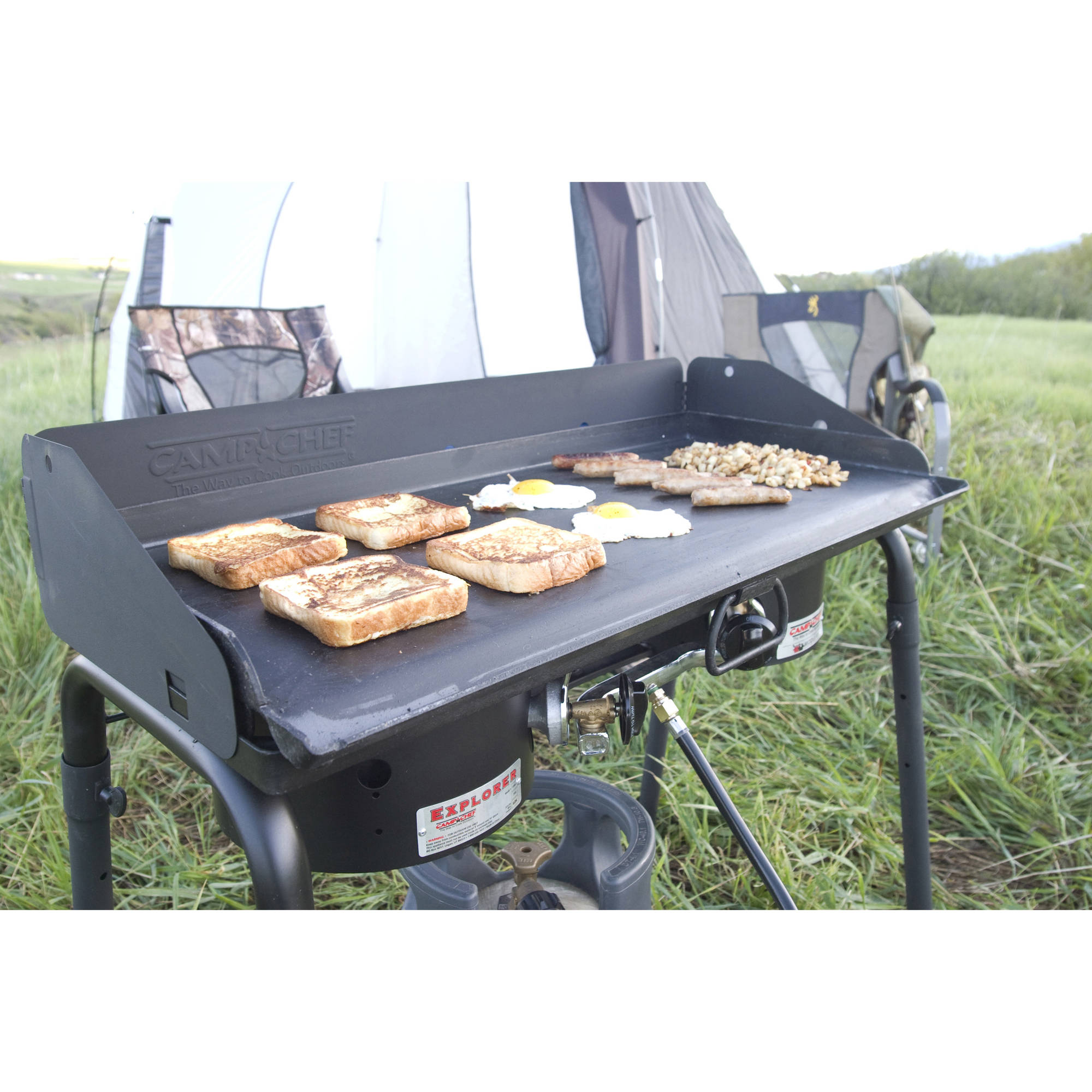 Camp Chef Deluxe Griddle Covers 2 Burners On 2 Burner Stove   Walmart.com
